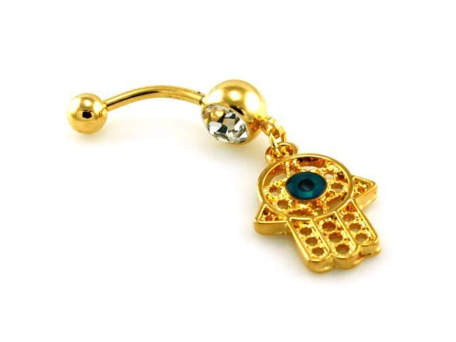 14g 1 6mm Gold Plated Evil Eye Cz Dangle Belly Ring Newegg Com