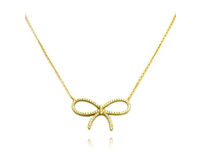 """Sterling Silver Gold Plated 16+2/"""" Bow Necklace with Cubic Zirconia NEW"""