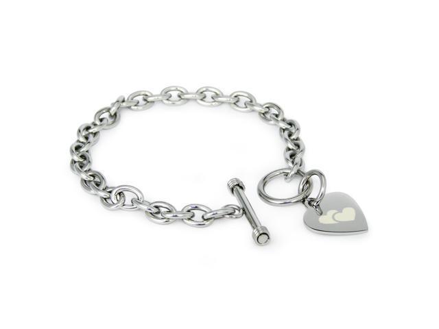 Stainless Steel Engraved Double Heart Symbol Heart Charm Bracelet