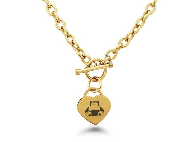 e47cd83d0fee4 Gold Plated Stainless Steel Snorlax Pokémon Heart Charm Necklace -  Newegg.com
