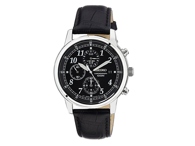 Seiko Chronograph Black Dial Black Leather Men S Watch Newegg Com