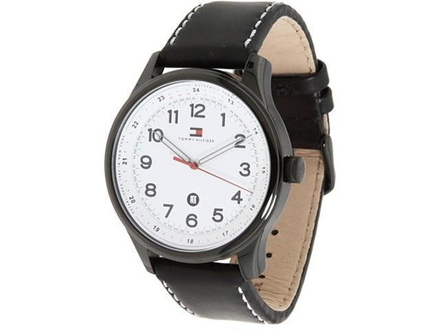 Tommy Hilfiger Men s Andre 1710309 Black Calf Skin Quartz Watch with ... d0a2545d4f