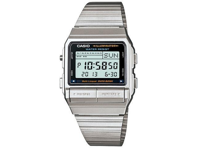 f58823360 Casio Men's DB380-1 Silver Stainless-Steel Quartz Watch with Digital Dial