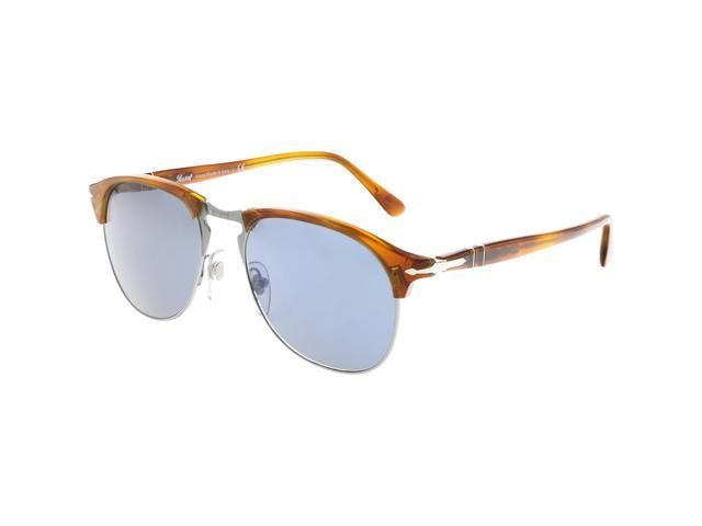 c425a8828a72 Persol Men's Mirrored PO8649S-96/56-53 Brown Clubmaster Sunglasses ...