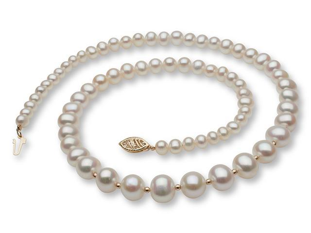49a43cfbea133 Graduated Pearl Necklace with 14k Gold Enhancers - Newegg.com