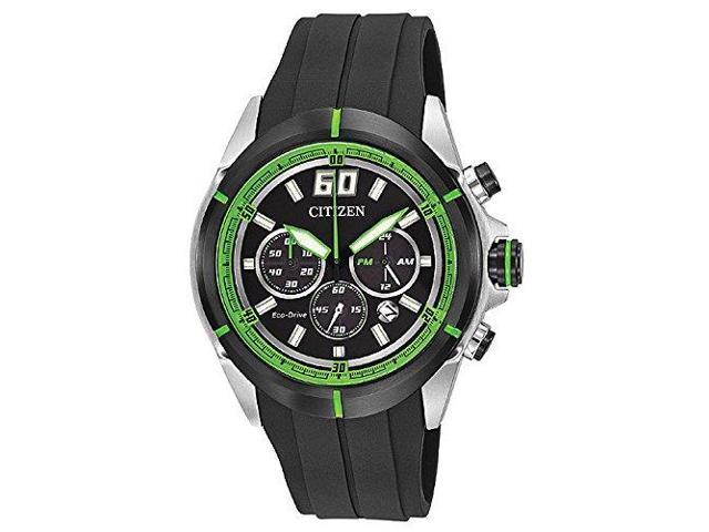 cdde6b538 Citizen CA4109-01E Men's HTM Eco-Drive Green Accented Black Dial Black  Rubber St