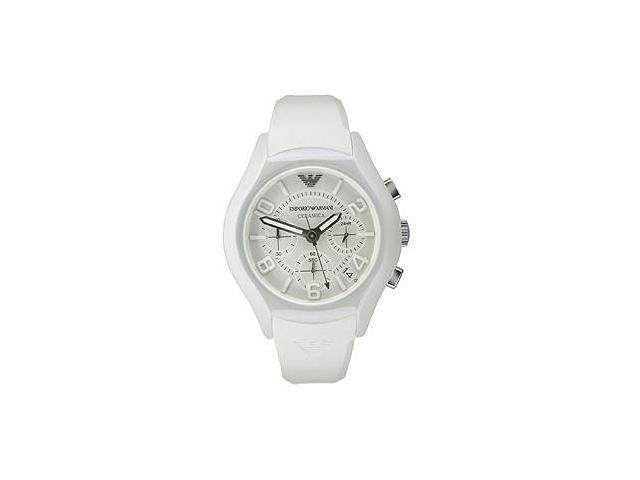 Emporio armani white ceramica chronograph mens watch ar1431 for Ceramica chronograph
