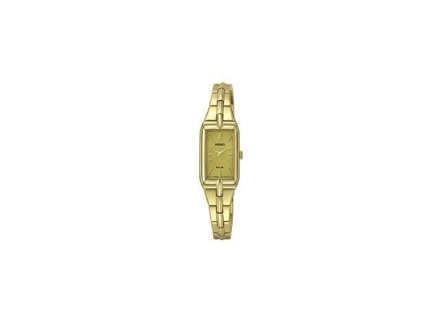 Seiko Solar Two Hand Gold Tone Stainless Steel Womens