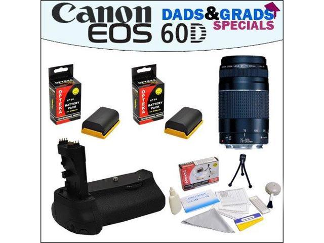 Dads&Grads Special! Canon EF 75-300mm f/4-5 6 III Telephoto Zoom Lens and  Battery Pack Grip With 2 Opteka LP-E6 2400mAh Ultra High Capacity Li-ion  for