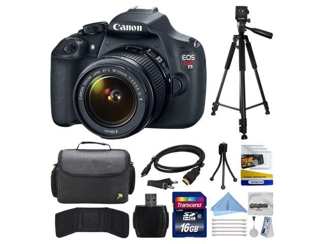 Canon EOS Rebel T5 EF-S 18-55mm IS II Digital SLR Kit with 16GB Memory +  Large Case + Tripod + Card Reader + Card Wallet + HDMI Mini Cable +  Cleaning