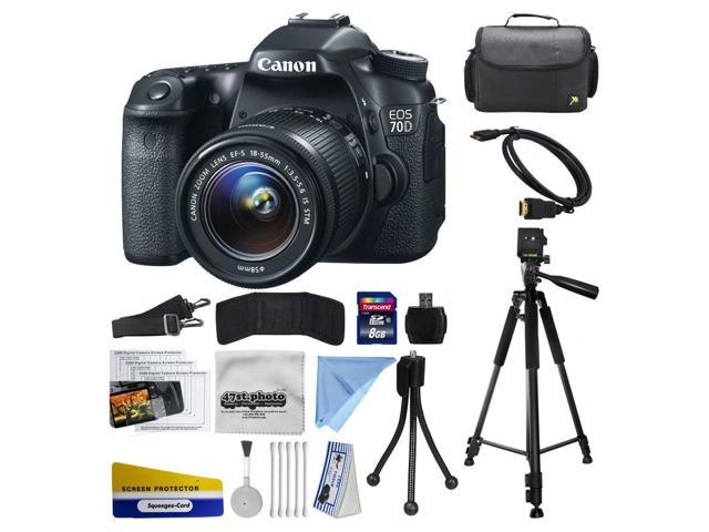 Canon EOS 70D Digital SLR Camera with 18-55mm STM Lens includes 8GB Memory  + Large Case + Tripod + Card Reader + Card Wallet + HDMI Mini Cable +