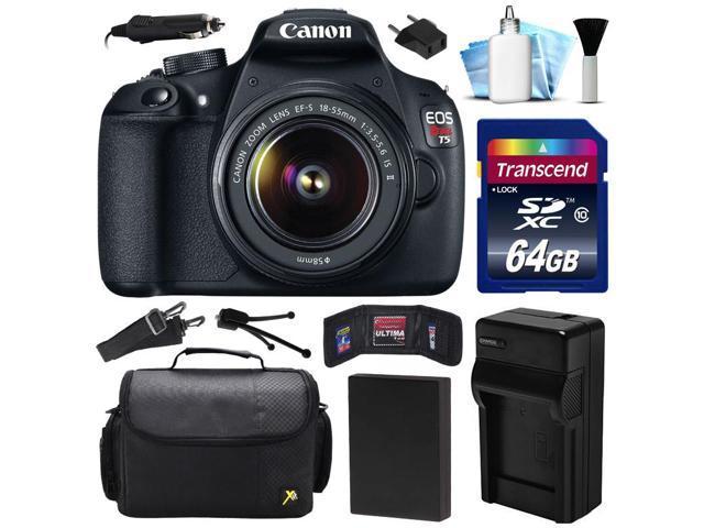 Canon Eos Rebel T5 1200d Dslr Digital Camera W 18 55mm Lens 64gb Value Bundle