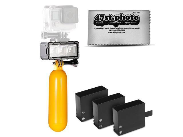 SJ6000 SJ4000 and Similar Action Cameras Floating Hand Grip Session Opteka Snorkeling Google Wrist Strap or GoPro HERO4 HERO3 HERO2 Black LED Light Silver