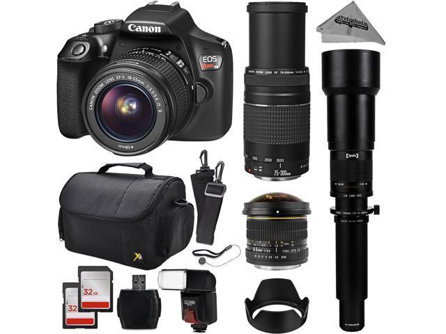Canon Eos Rebel T6 Digital Slr Camera Kit W Ef S 18 55mm F 3 5 5 6 Is Ii 75 300mm F 4 5 6 Iii 2600mm High Definition Super Telephoto Zoom Lens 6 5mm Aspherical Fisheye 64gb