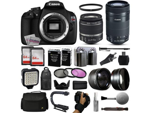 Canon Eos Rebel T5 Digital Slr Camera With Ef S 18 55mm And 55 250mm Lens 2x 64gb Sd Card 72 Monopod Led Video Light 2 2x Telephoto Lens Sd Card