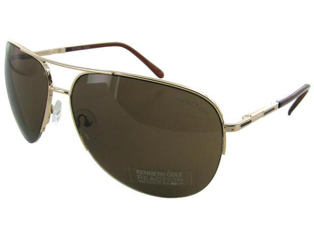 41c291e7c Kenneth Cole 1098O32E Half-Rim Aviator Sunglasses - Gold Frame/Brown Lens