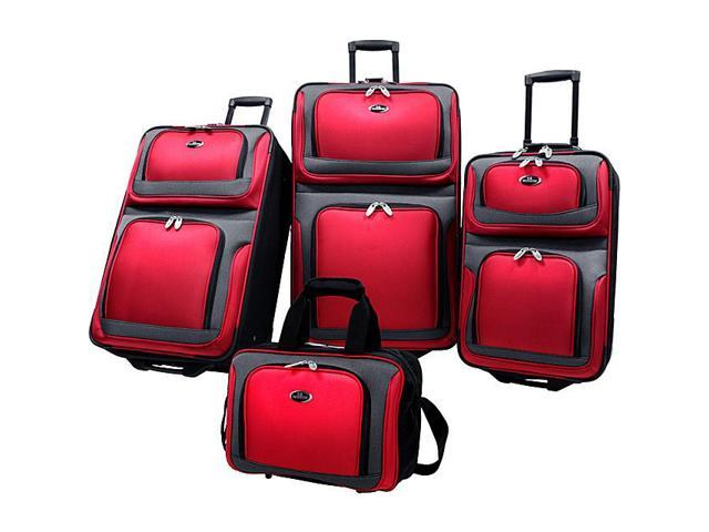 Travelers Choice US6300R U.S. Traveler New Yorker 4-Piece Luggage Set in Red