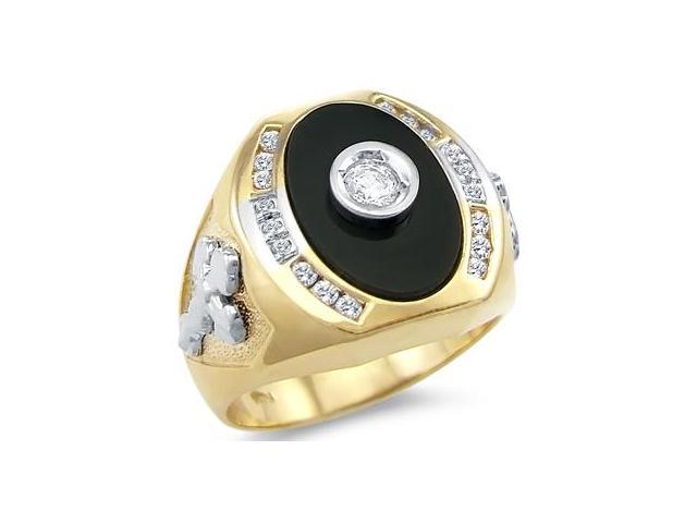 fd4484c42c10a Solid 14k Yellow and White Gold Mens Large Cross Onyx CZ Cubic Zirconia  Ring - Newegg.com