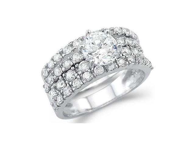 Solid 14k White Gold Ladies Cz Cubic Zirconia Engagement Wedding