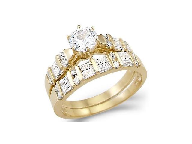 New Solid 14k Yellow Gold Solitaire Cz Cubic Zirconia Two