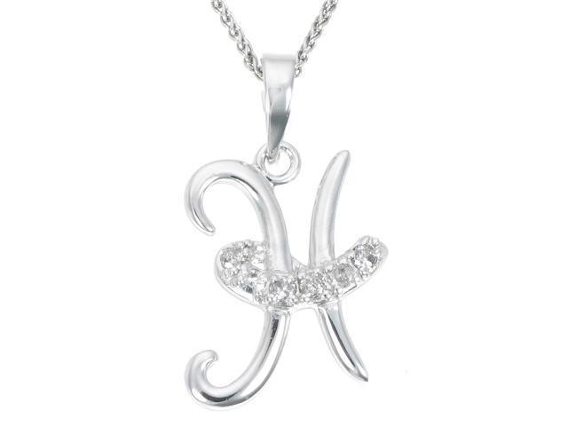 Sterling Silver Diamond Pendant Alphabet H