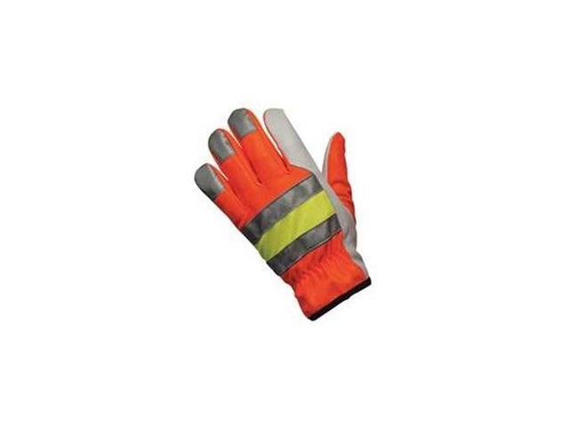Leather Gloves, Hi Vis Orange, L, PR