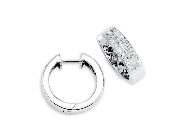 ebb7273c570a4 Solid 18K White Gold Hoops Princess Diamond Earrings - Newegg.com