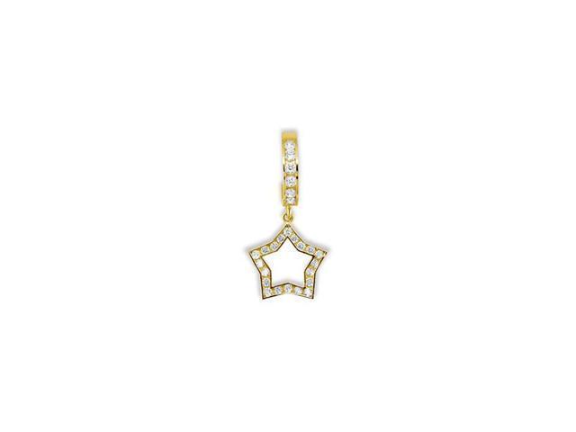 14k Yellow Gold Cz Dangle Star Hoop Belly Button Ring Newegg Com