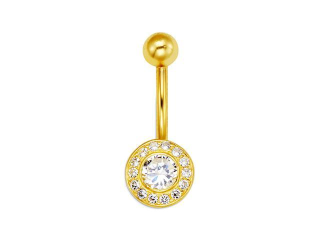 14k Yellow Gold Round Circle Cz 14g Belly Button Ring Newegg Com