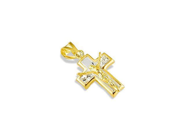 14k White Gold Polished Small Ribbon Cross Pendant