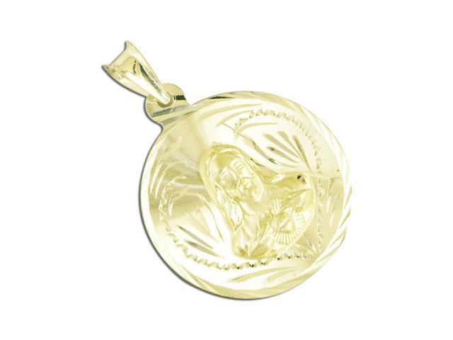 14k White Gold Religious Virgin Mary Medal