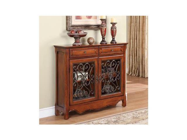 Powell Furniture Light Cherry 2 Door 2 Drawer Scroll Console