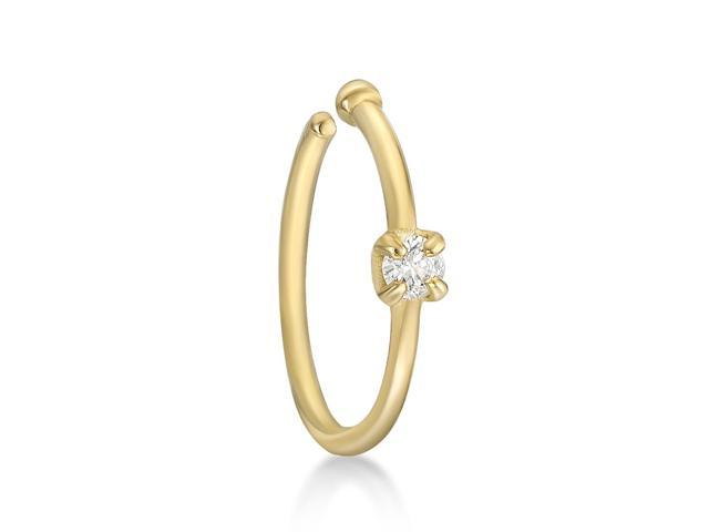 Lavari 14k Yellow Gold 1 7mm 02 Carat Genuine Diamond Open Hoop