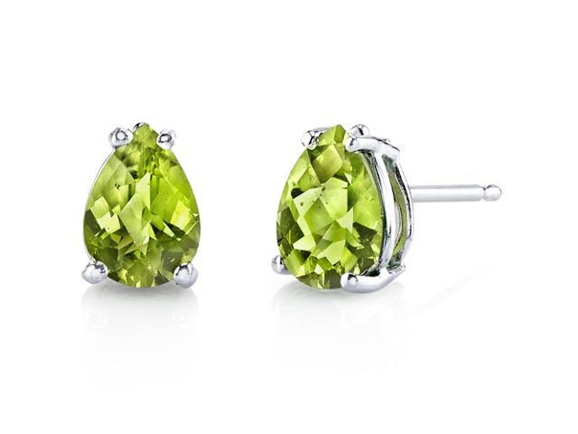 14 Kt White Gold Pear Shape 1 50 Ct Peridot Earrings Newegg