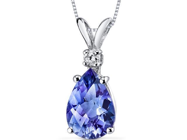 14 kt White Gold Pear Shape 2.50 ct Blue Sapphire Pendant