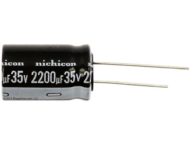 Nichicon electrolytic 10 pack of high temperature 105 degree capacitors,  capacitor value 2200 ufd at 35 volts dc  ( 2200uf 35VDC, 2200 micro farad  35