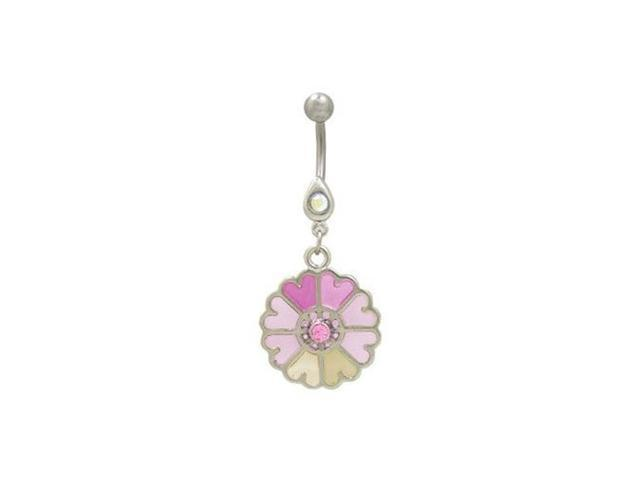 Pastel Flower Dangler Belly Button Ring Pink Newegg Com