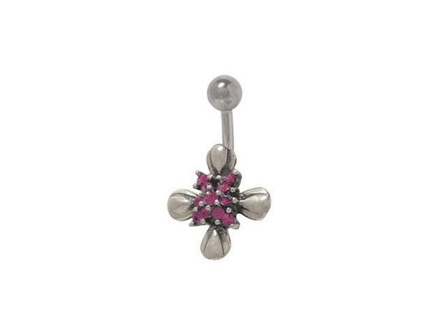 Sterling Silver Flower Belly Ring With Purple Cz Jewels Newegg Com