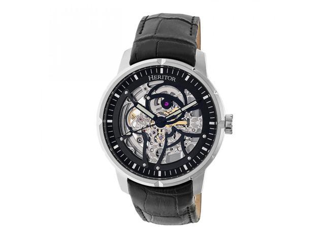 c7495ee8a Heritor Automatic Ryder Skeleton Leather-Band Watch - Black ...
