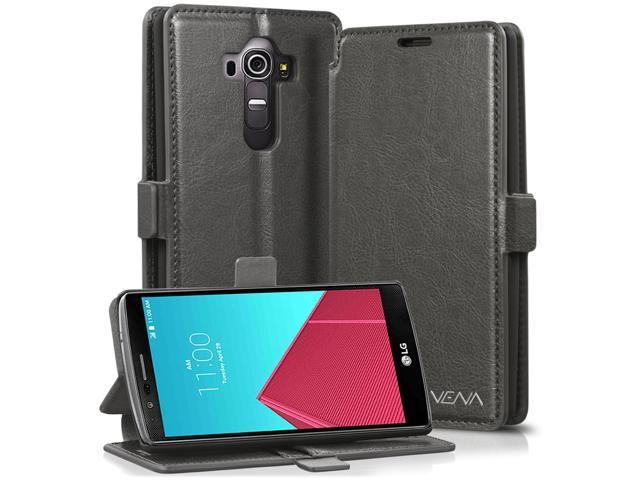 sale retailer fabbe 6aefb Vena vFolio Genuine Leather Wallet Flip Stand Case with, Card Pockets for  LG G4 - Gray/Black - Newegg.com