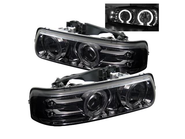 spyder auto chevy silverado 1500 2500 3500 99 02 chevy suburban 1500 2500 00 06 chevy tahoe 00 06 halo led replaceable leds projector headlights smoke pro yd cs99 hl smc newegg com newegg com