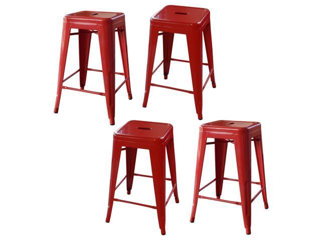 Admirable Loft Red 24 Inch Metal Bar Stool 4 Piece Uwap Interior Chair Design Uwaporg