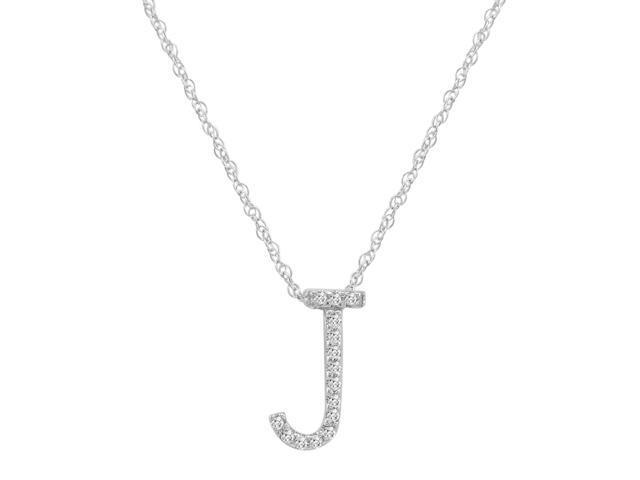 14k white gold diamond j initial pendant 16 necklace newegg 14k white gold diamond aloadofball Image collections