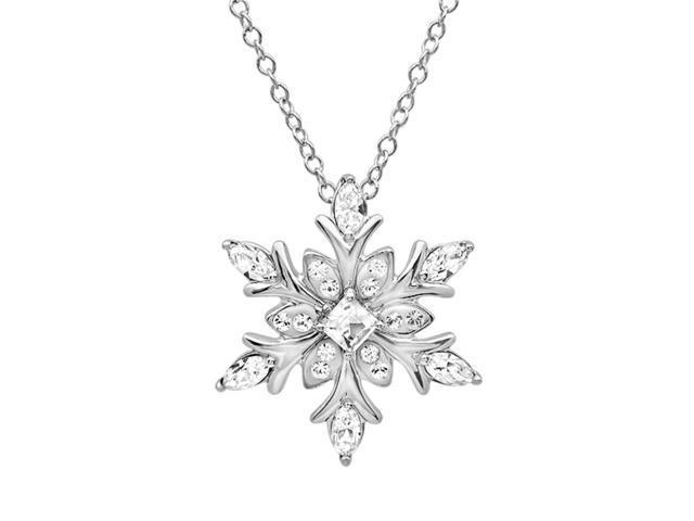 d1790ecf93d5e Swarovski Crystal Snowflake Pendant Necklace in Sterling Silver - Newegg.com