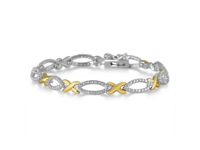 Diamond Hugs And Kisses Bracelet In 18k Gold Plated Br