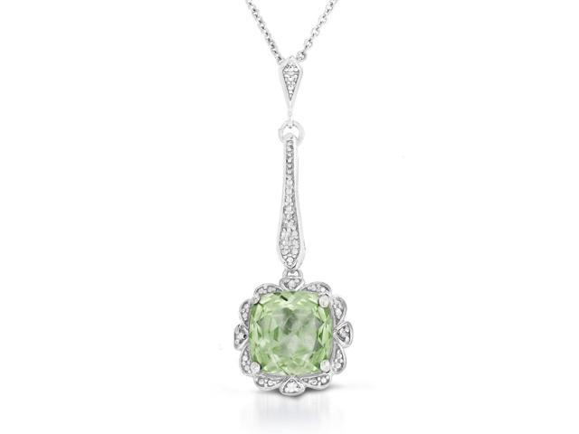 cushion cut all natural green amethyst and diamond pendant in  925 sterling silver