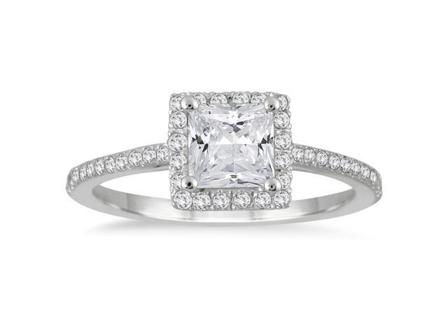Ags Certified 1 Carat Tw Princess Cut Diamond Halo Engagement Ring In 14k White Gold Newegg Com