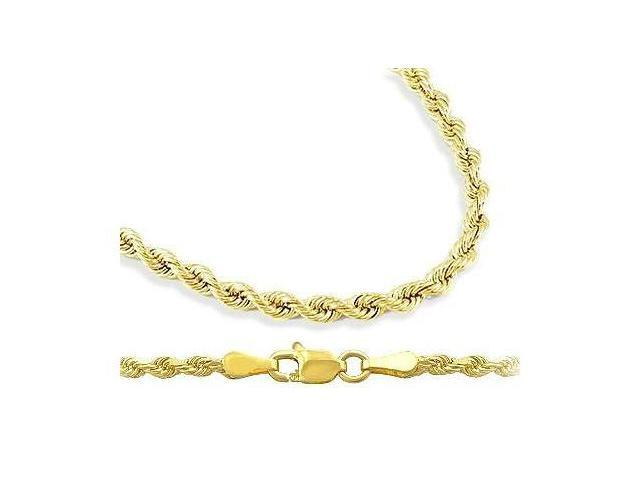 14k Solid Yellow Gold Rope Chain Men Womens Necklace Diamond Cut 2 5mm 24 Inch Newegg Com