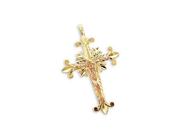 14k Yellow Gold and Rose Gold Religious Pointed Cross Jesus Christ Crucifix Pendant