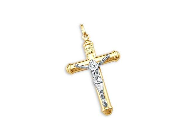 14k White And Yellow Gold Crucifix Cross Religious Pendant Charm